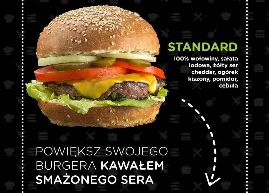 Pasibus - burger Standard powiększony o smażony ser