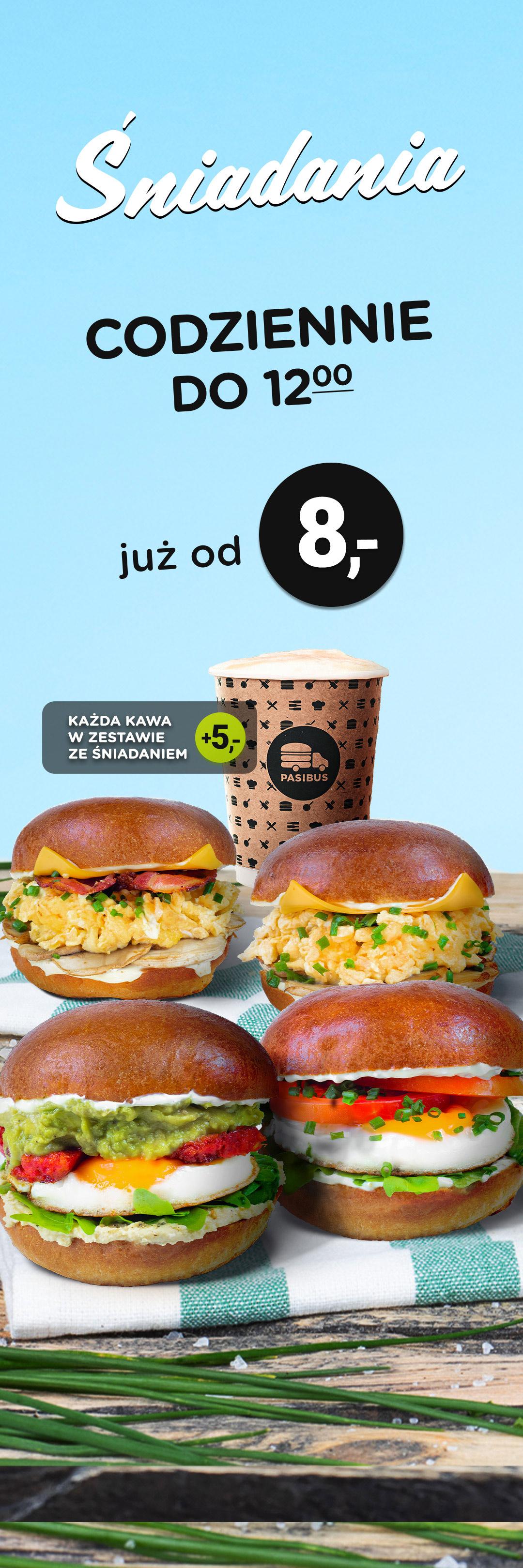 Nowość w Pasibus - menu śniadaniowe. Dostępne codziennie do 12:00